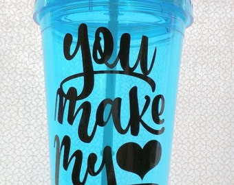 Double-Wall Plastic Tumblers with Same Color Straw, 16 oz. With Several Quotes 1 -  6