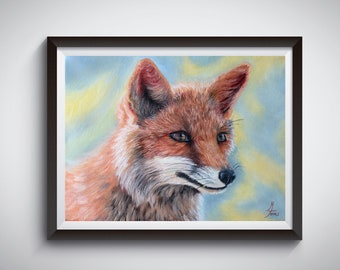Fox Print Wall Art Nursery Red Animal Prints Decor