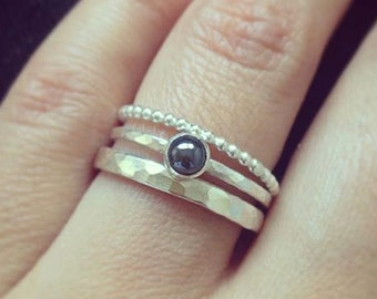 Stacking silver rings set, hematite ring, silver rings, grey gemstone ring, Gemstone ring, UK sellers only