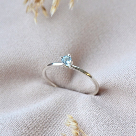 March Birthstone Ring Aquamarine Ring Sterling Silver Aquamarine Stacking Ring Handcrafted Sterling Silver Aquamarine Ring