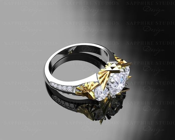 Sacred Triforce Inspired Zelda Trio Engagement Ring Etsy