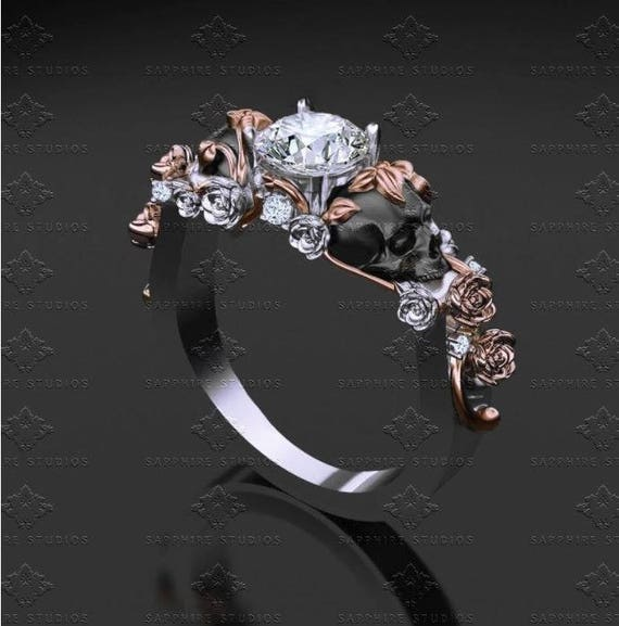 St Ivy Skull Engagement Ring Choose Your Metal Etsy
