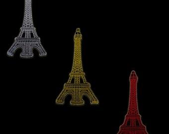 silber Eiffelturm Paris France Aufnäher // Bügelbild 6,2 x 8,9 cm