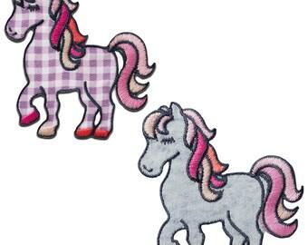 5,3x3,5cm braun Aufnäher // Bügelbild Pferd Kopf Tier Patches Aufbügeln