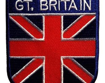 England Großbritannien blau Aufnäher // Bügelbild 6,8 x 5 cm