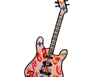 Gitarre Patches Aufbügeln 13,2 x 4,7 cm Aufnäher // Bügelbild rot