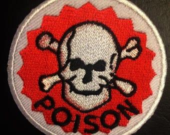 Aufnäher // Bügelbild rot Poison Gift Warnung Logo Ø7 cm