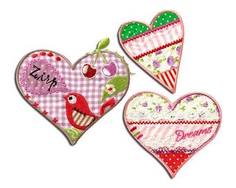 Herz Liebe 5,6x6cm Patches Aufbügeln rosa Aufnäher // Bügelbild
