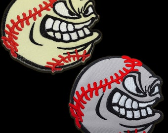 mehrere Farben auswählbar Aufnäher // Bügelbild Ø7,7cm Baseball sauer Sport