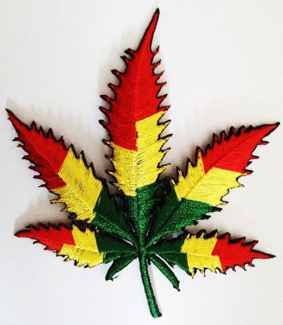 bunt Hippie Cannabis stern Marijuana Aufnäher // Bügelbild 6,5 x 6,5 cm
