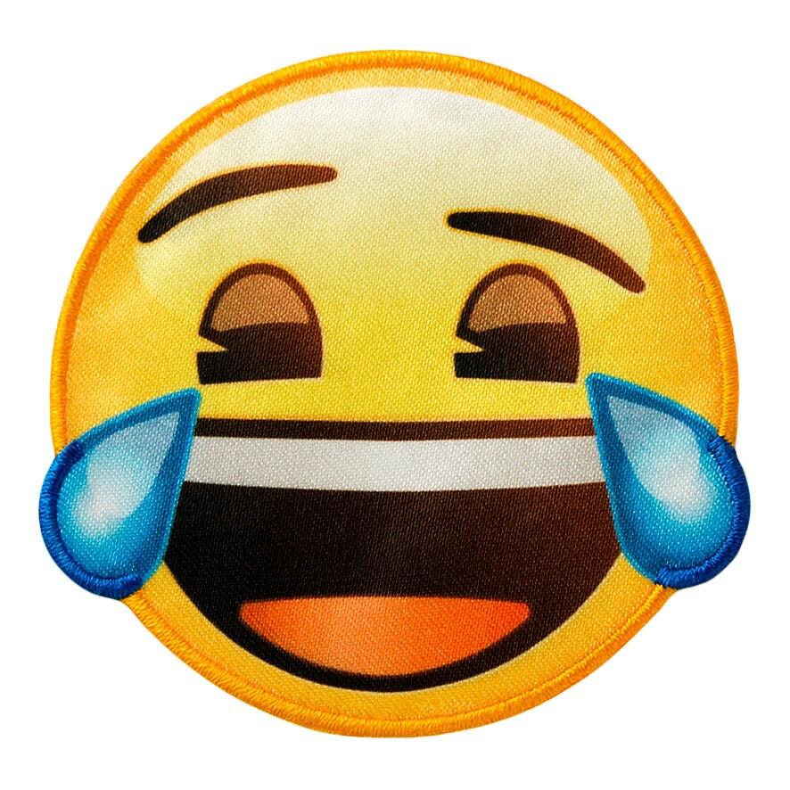 Aufnäher gelb Bügelbild Øca.6,5cm Emoji mit Sonnenbrille