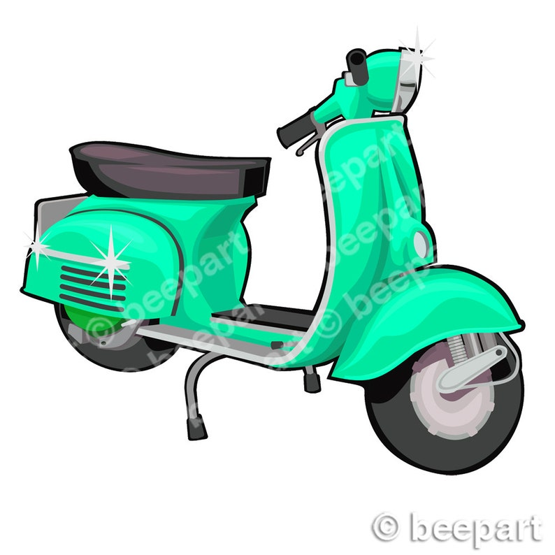 scooter clip art, vespa clip art, vintage vespa illustration, the mods,  royalty free clip art, INSTANT DOWNLOAD