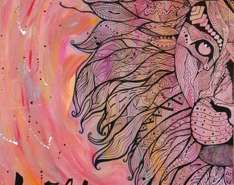 Picture painting and ink, Lion head