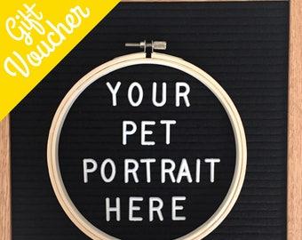 Pet Portrait Gift Voucher - Pet Memorial Gift Voucher - Personalized Pet Gift - Pet Portrait - Pet Cross Stitch Portrait - Pet Loss Gifts