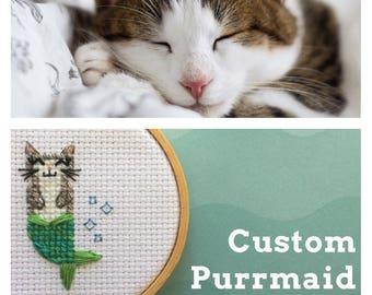 Custom Purrmaid - Custom Cat Portrait - Personalized Cat Portrait - Custom Cat Cross Stitch - Custom Purrmaid Cross Stitch - Cat Lover Gift