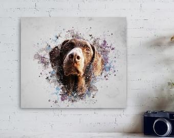 Personalized Dog Portrait, Custom Pet Portrait, Dog Canvas, For Pet Lovers, Dog Birthday, Printable Dog Portrait, Digital Pet Portrait