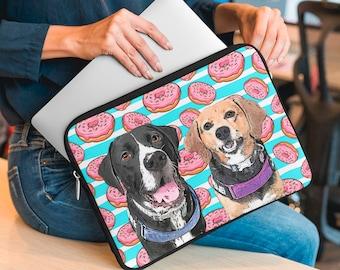Personalised Pet Laptop Sleeve, Custom Pet Portrait, Printed laptop case, Your Dog on a Laptop Sleeve, University Gift, Gift for Dog Mum