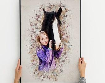 Custom Horse Portrait, Pet Portrait, Cartoon Horse Portrait, Personalised Horse Portrait, Gift For Horse Lovers, For Animal Lovers