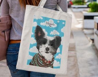 Custom Dog Tote Bag, Pet Portrait Tote Bag, Pet Printed Bag, Custom Tote Bag, For Pet Lovers, For Dog Lovers, Personalised Tote Bag