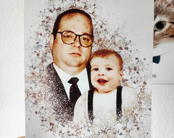 Father's Day Portrait, Custom Family Portrait, Portrait from Old Picture, Mother's Day Gift, Canvas Family Portrait, Custom Family Print