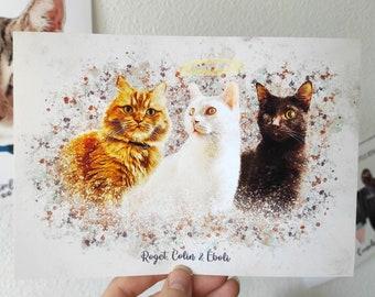 Personalized Cat Portrait, Custom Pet Portrait, Cat Canvas, For Pet Lovers, Cat Birthday, Printable Cat Portrait, Digital Pet Portrait