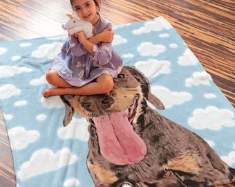 Custom Pet Portrait Blanket, Dog Custom Blanket, Personalised Dog Portrait, Pet Loss Memorial Gift, Dog Mum Gift Idea, Custom Sofa Blanket