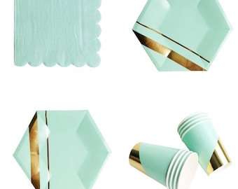 Gold and Mint Tableware
