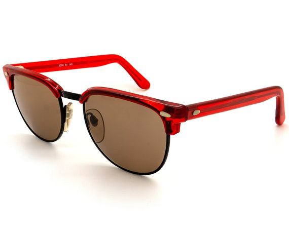 Vintage sunglasses by Girard 3300, 80s red browlin