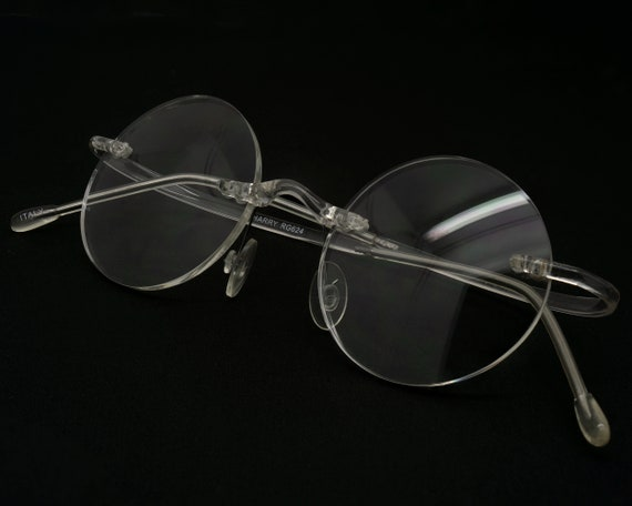 Round anti blue light glasses, made in Italy. Supe