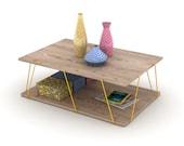 Wood Basic Coffee Table Metal Accessories Coffee Table Living Room Coffee Table
