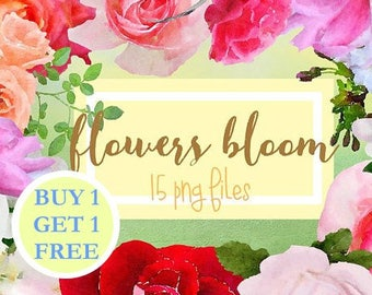 Watercolor clipart spring flowers Clip Art Watercolor clipart: 15 png Flowers Leaves Aquarelle Digital Clip Art watercolour colorful flowers