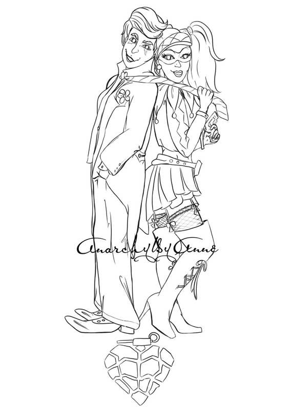 Joker and Harley Quinn Printable Coloring page | Etsy
