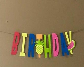 Two-Tti-Fruity Happy Birthday Banner
