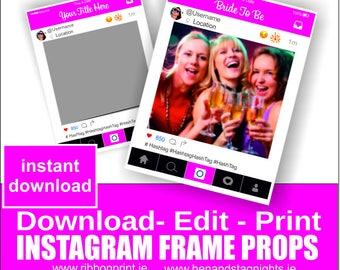 Brides Custom Instagram Photo Booth Prop - Pink- Instagram cut out frame - Social Media Prop Frames- Instant Download