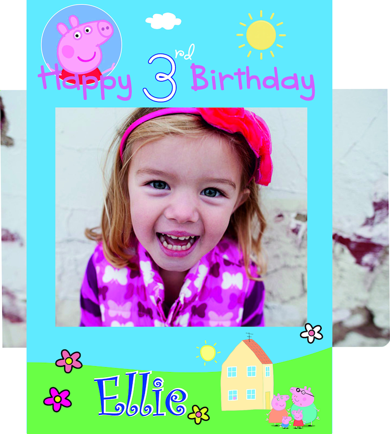 instant download Peppa Pig photo booth Frame Cardboard Cut Out Props Birthday Backdrop Cut Out Editable file