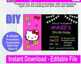 Hello Kitty Invitation - Editable Party Invitation - Digital Invitation-  Invite - Editable Download - Digital File - Editable pdf