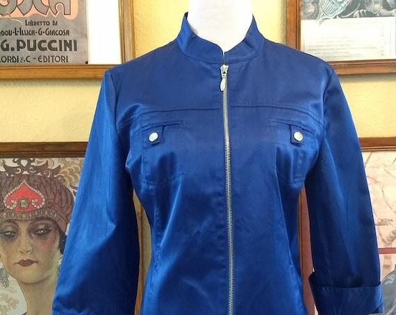 Cobalt Blue Cotton Polyester Blend Zippered Half Sleeve Jacket.