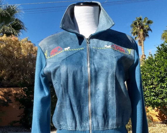 Adorable 70's Blue Leather and Knit Jacket.