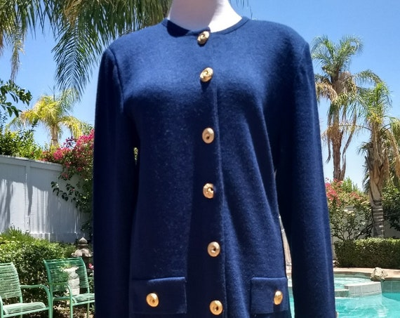Mita 80's Navy Blue Knit 2 Piece Skirt Suit,Pleated Skirt,Gold Buttons,Size 6,Made in USA.