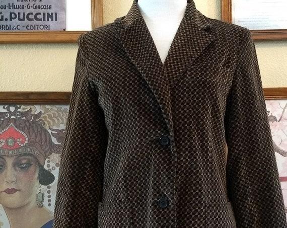 Vintage 80s Paula Saker Retro Black and Brown Patterned Velvet Jacket,Size 10.