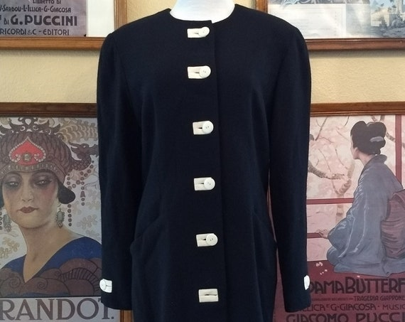 Lovely 80's Paul Alexander Wool Sheath,Navy Blue with White Accents,Size 12,Made in Hong Kong.
