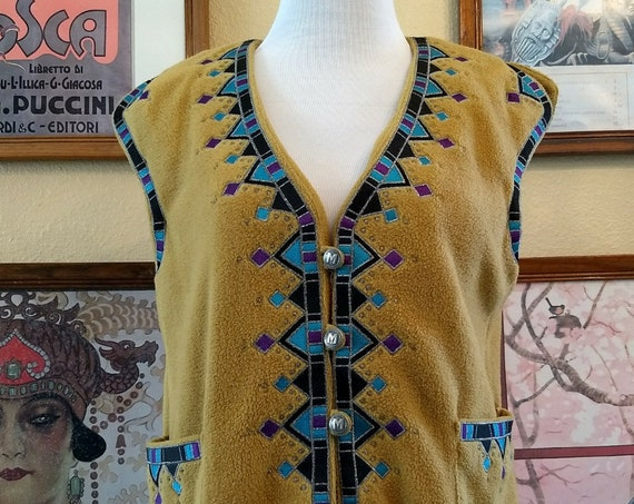 Charming Western Vest with Metallic Embroidery,Metal Buttons and Two Side Pockets,Size S to X Small.  Bob Mackie Wearable Art.