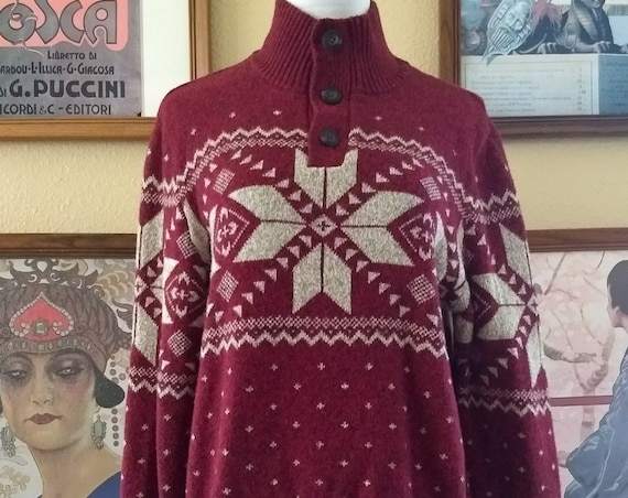 Scandinavian Pattern Cotton Poly Blend American Eagle Vintage Sweater,Size Medium.
