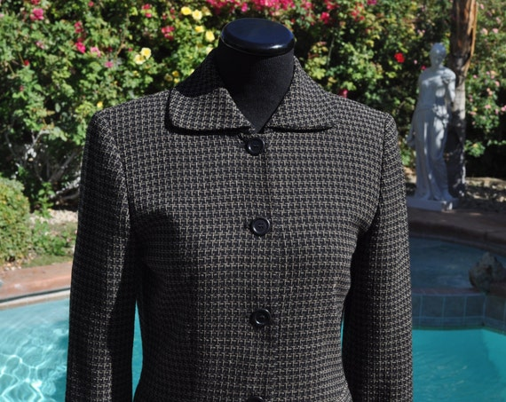Women's Gray Ann Taylor Checkered Wool Blazer Sz 2