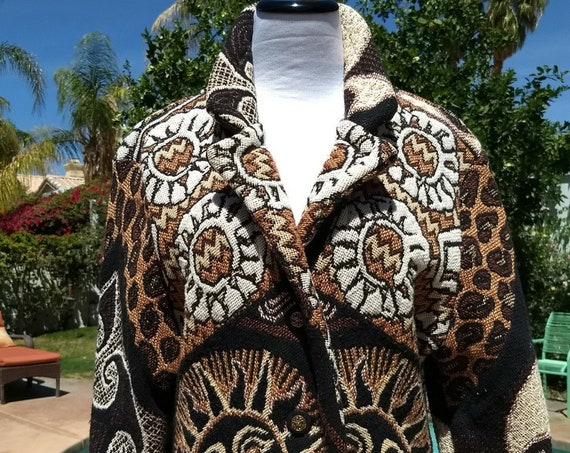 Vintage 90's Laguna Casuals Tapestry 100% Cotton Short Jacket,Size Large