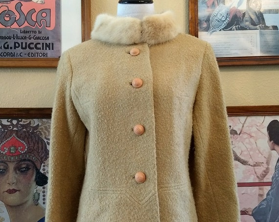 Vintage 50's Wool Jacket with Mink Collar.