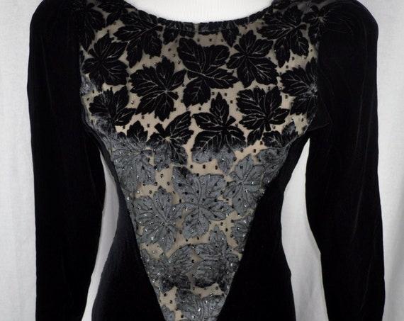 Vintage 1980s Black Velvet and Black Velvet Lace Niki Dress Sz 8,Prom/Evening Dress