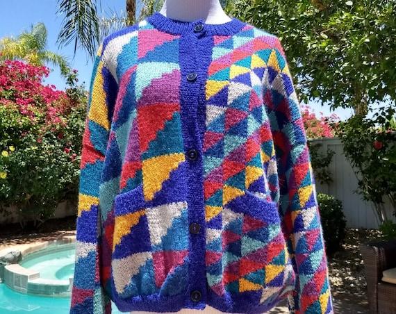 Hand Knit,100% Pure Alpaca Wool, Multi Color Cardigan, Made in Peru, Size Medium.