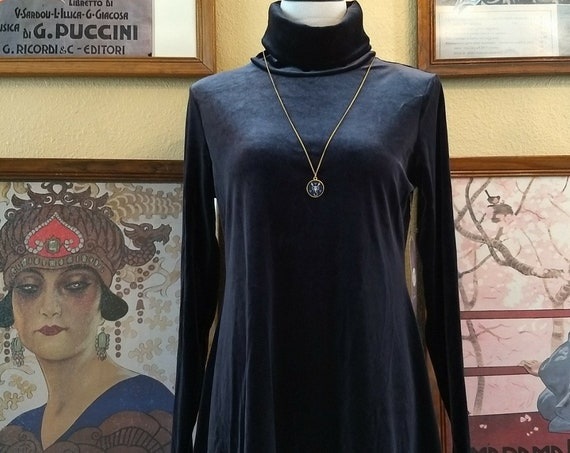 Pretty Midnight Blue Velvet Tunic/Mini Dress,Size Small,New With Tags.