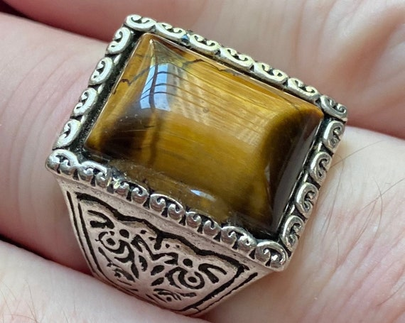 Men's Tiger Eye Silver Toned Ring Size 12